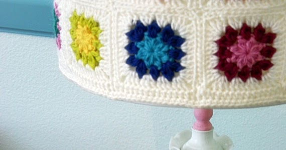 Felted Button Colorful Crochet Patterns Milk Glass Lamp With Granny Shade