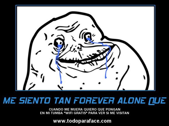 Meme forever alone chistoso para Facebook: wifi gratis