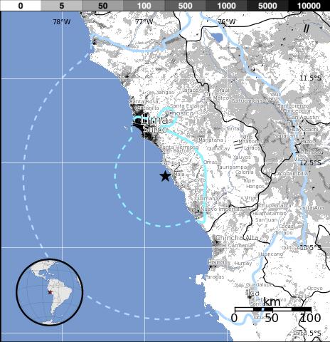 Epicentro sismo 5,8 grados en Peru, el 14 de Noviembre 2014