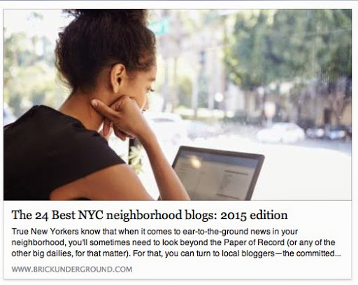 Named one of the best NYC Neighborhood blogs in 2015
