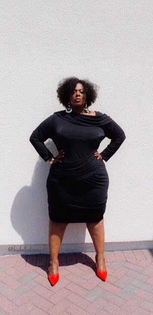 little black dress, monif c, full figured fashion, full figure fashion, plus size fashion, nicole dress, LBD, lbd