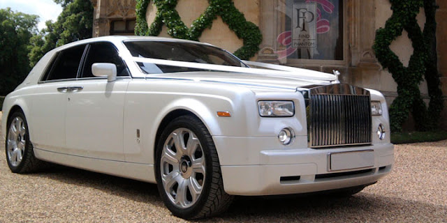 Rolls Royce phantom white wedding