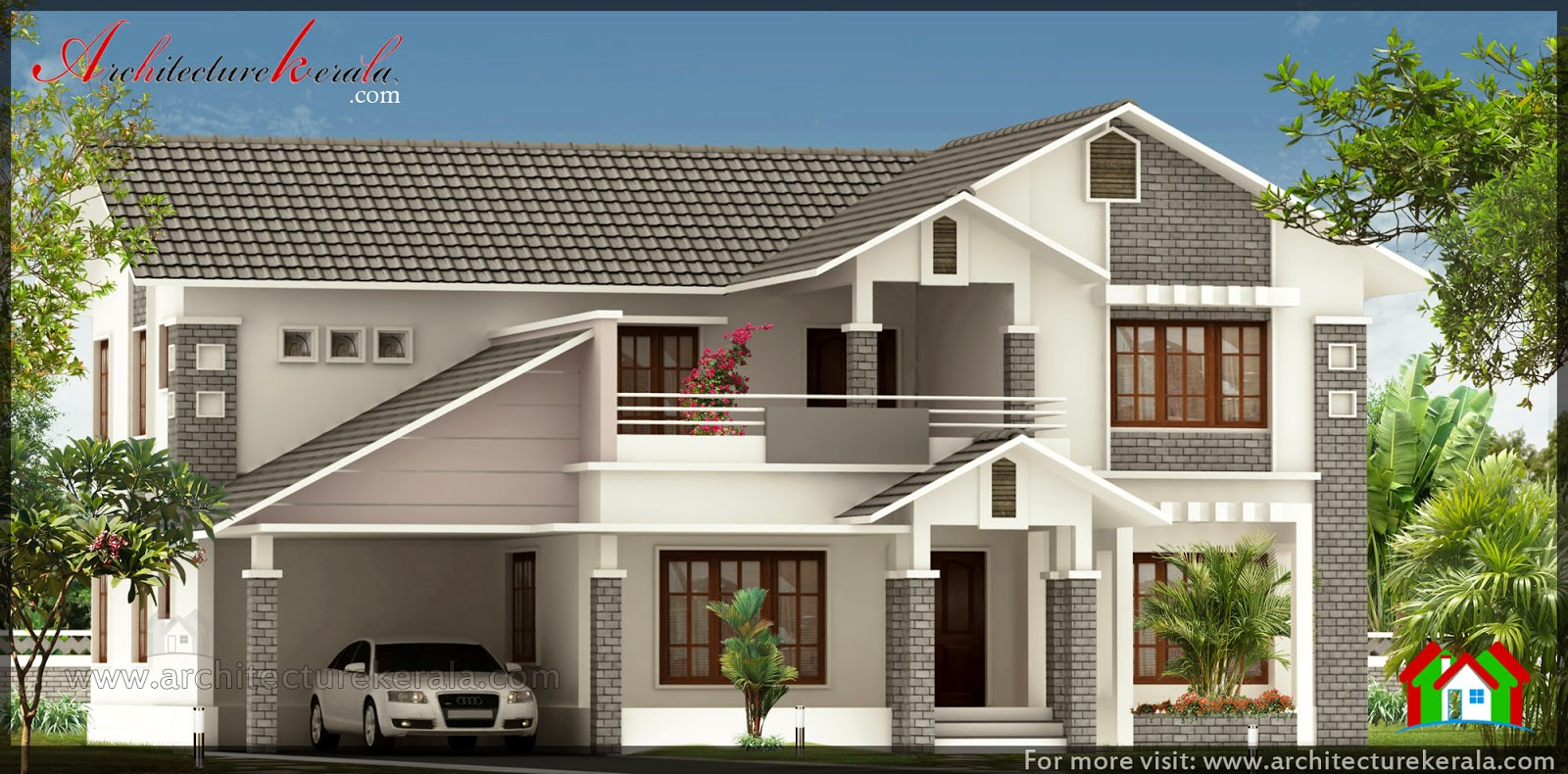 Full slope roof house design architecture kerala for Slope home design