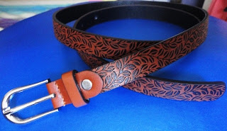 Genevieve Gozum belt with leaf design @ Beauty Bunker