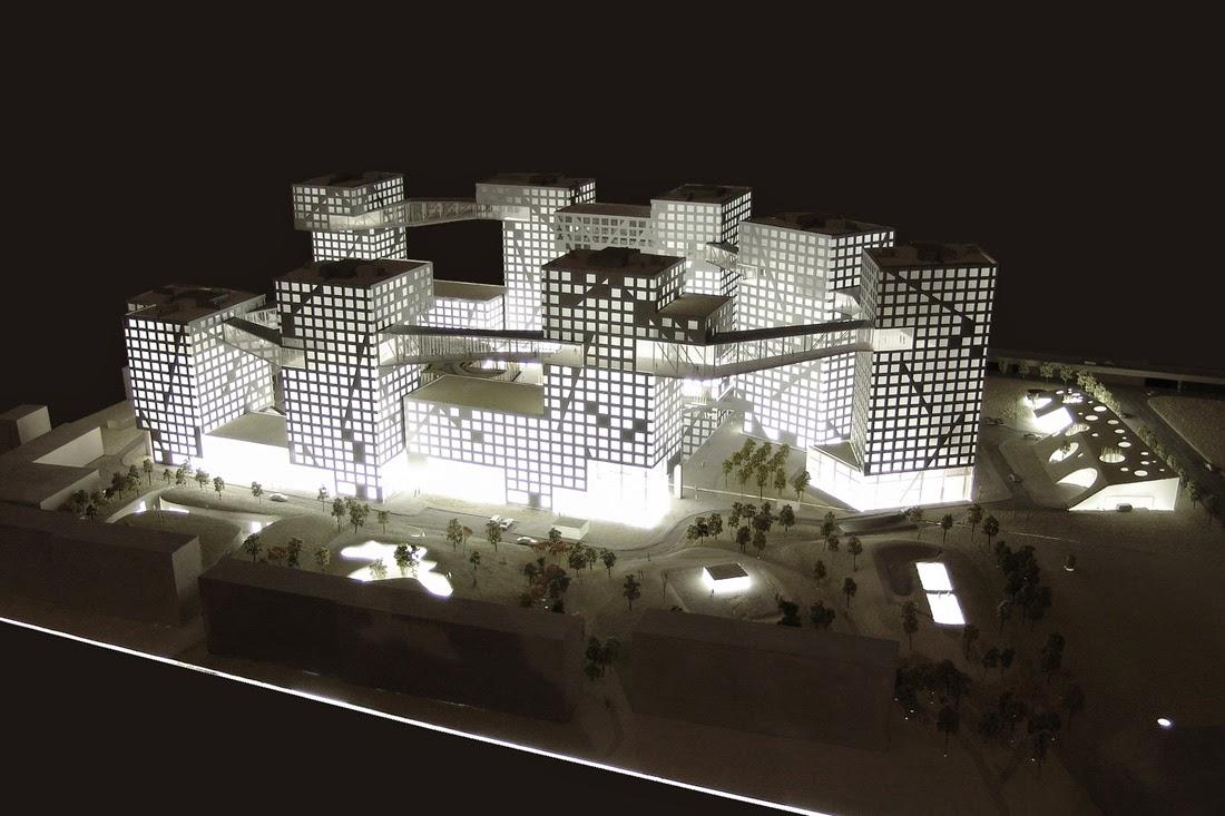 """Como resultado la envoltura del edificio es la estructura, un esquema que los diseñadores expresaron en líneas diagonales que reflejan """"las fuerzas sísmicas"""" en las fachadas."""