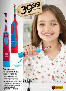 Szczoteczka na baterie Braun Oral-B Kids D2 z Biedronki ulotka