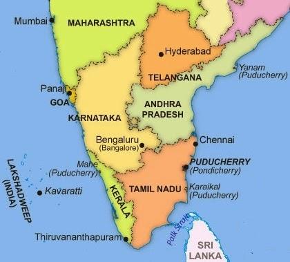 Mapa Południowych Indii