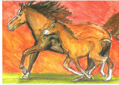 Brown horse and pony running pic