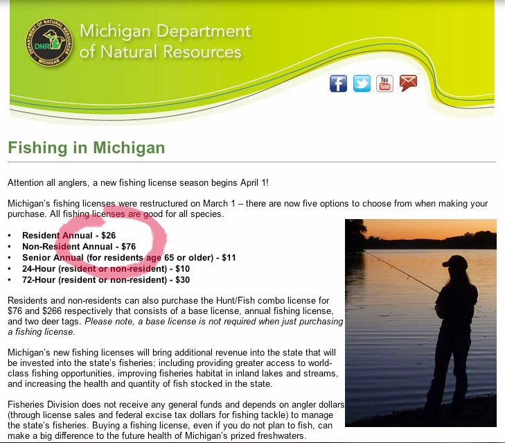 Michigan tourism for Indiana fishing license cost
