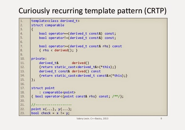 Vsnake notes curiously recurring template pattern maxwellsz