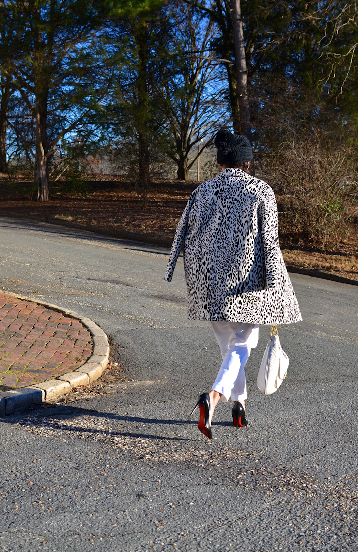 White leopard print outfit