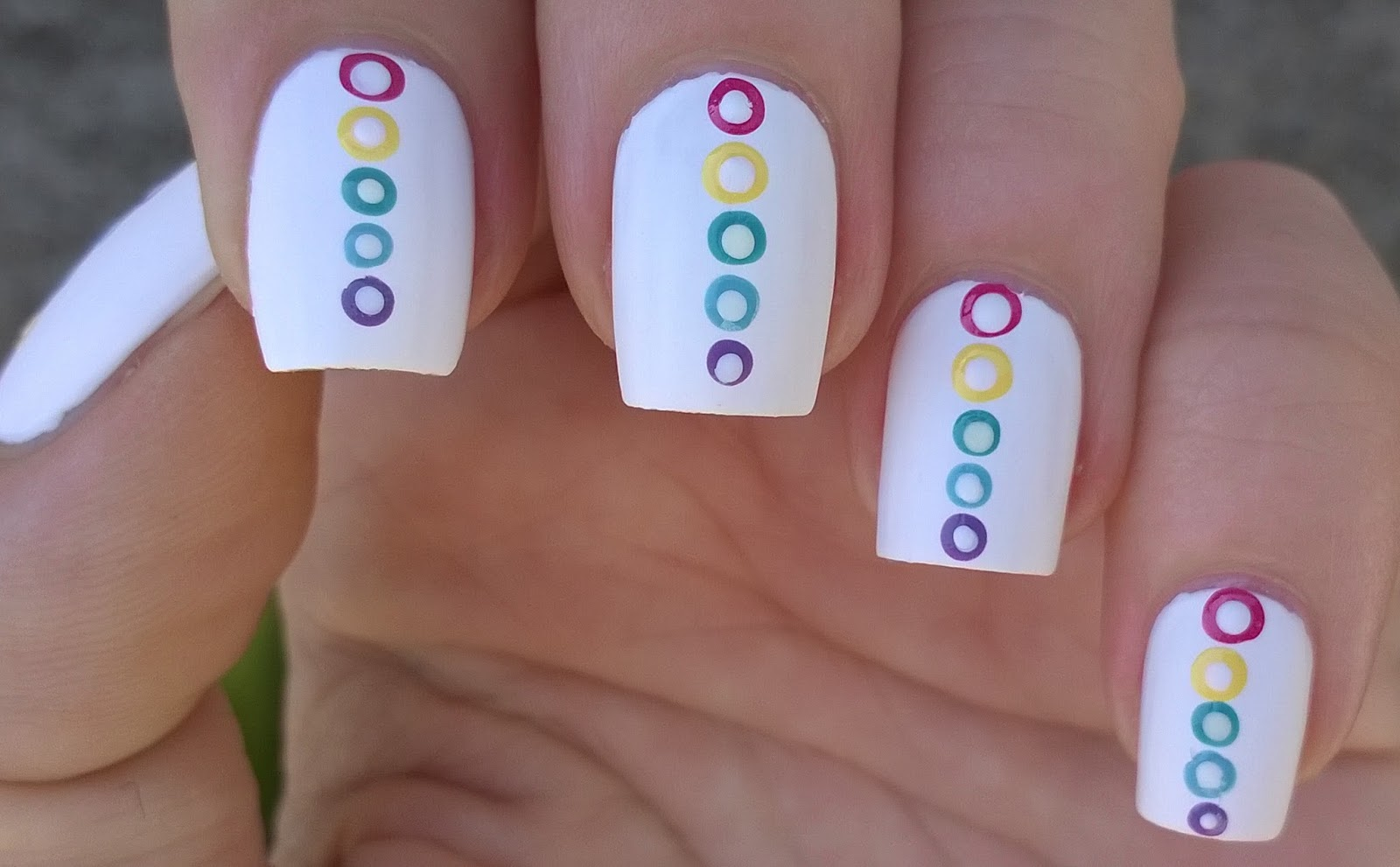 Life World Women Matte White Nail Art With Dot Design In The Colors