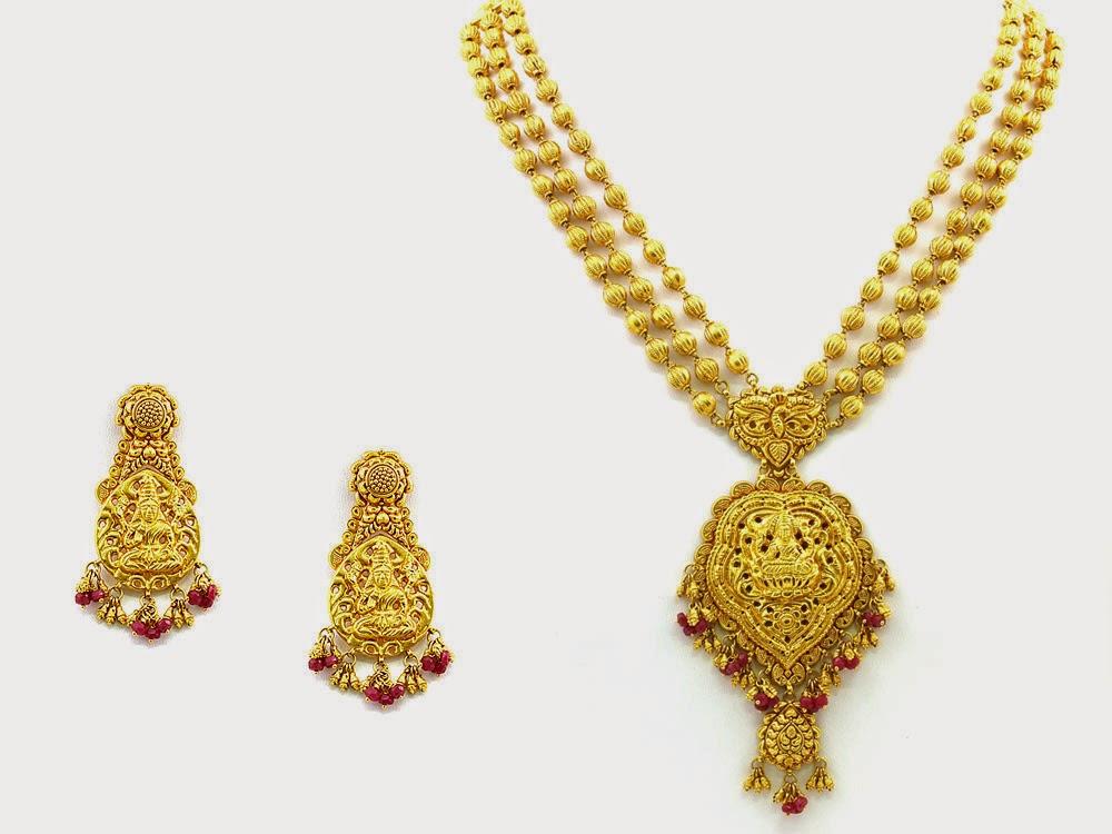 Jewellery Designs : 22 kt Gold Jewelery Long Balls Necklace Set