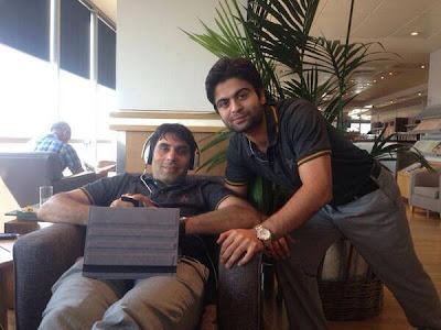 Pakistani Cricket Team in London Gatwick Airport - Misbah ul Haq And Ahmed Shahzad