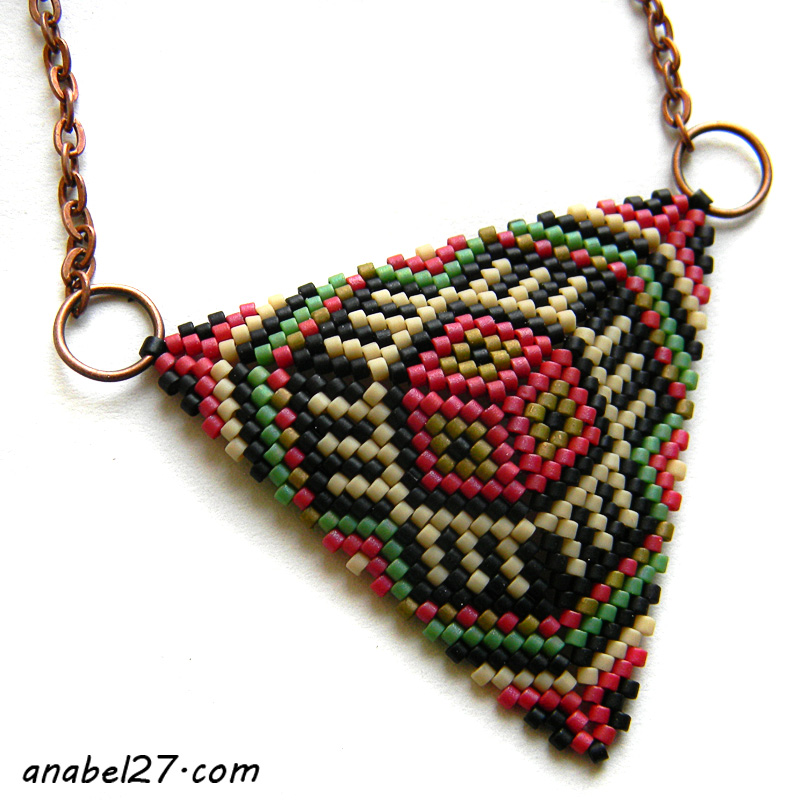 Peyote triangle pendant necklace beadwork jewelry