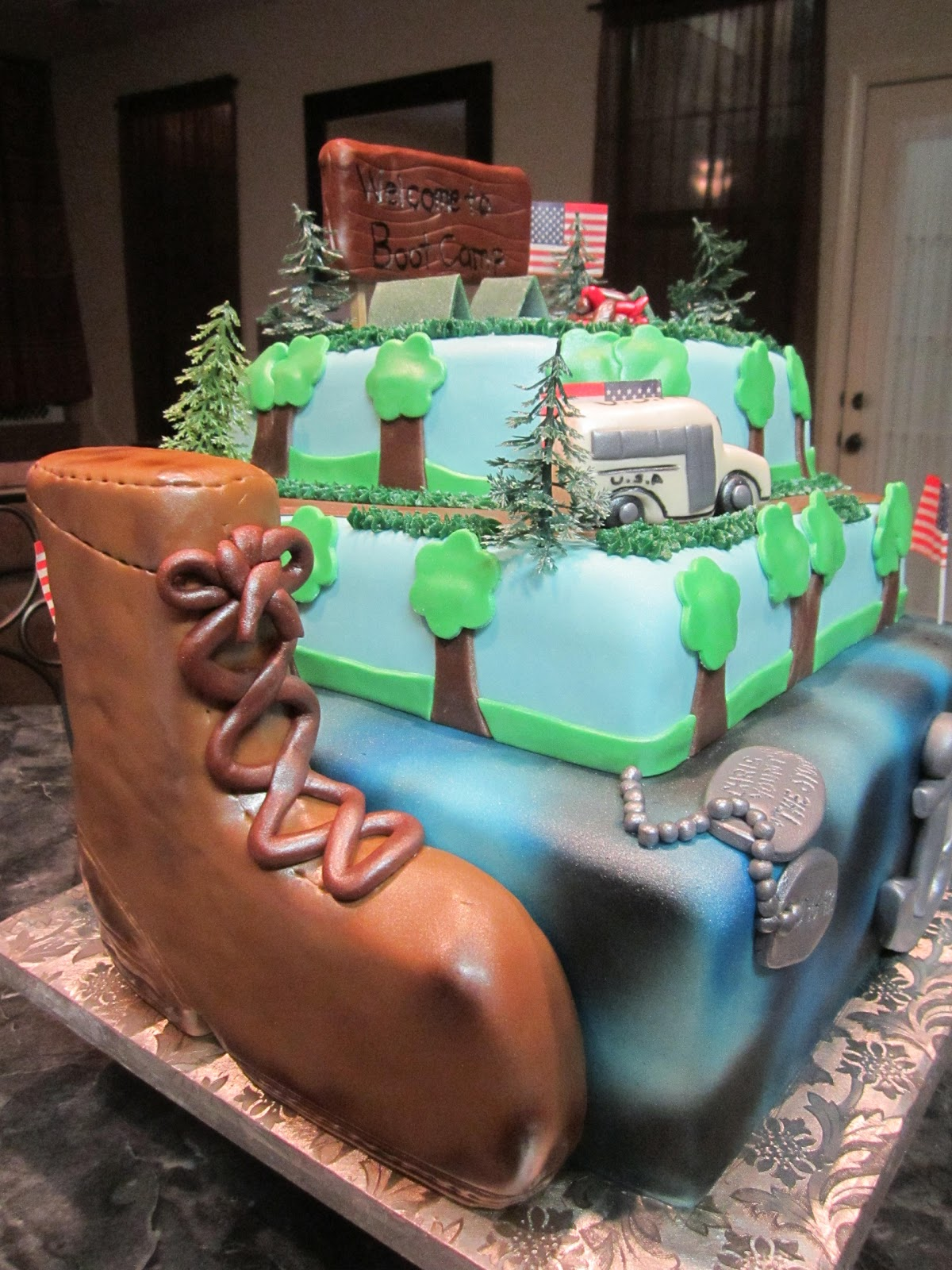 Mymonicakes Boot Camp Cake W Obstacle Course Cake
