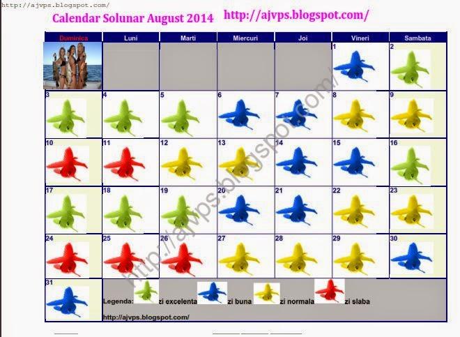 Calendar de pescuit solunar august 2014