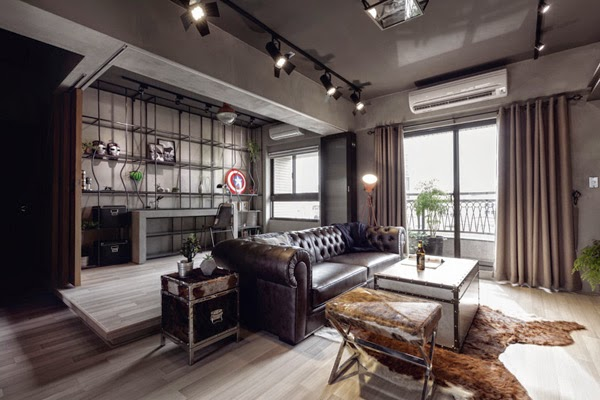 apartamento de estilo industrial tipo loft sofa chester negro