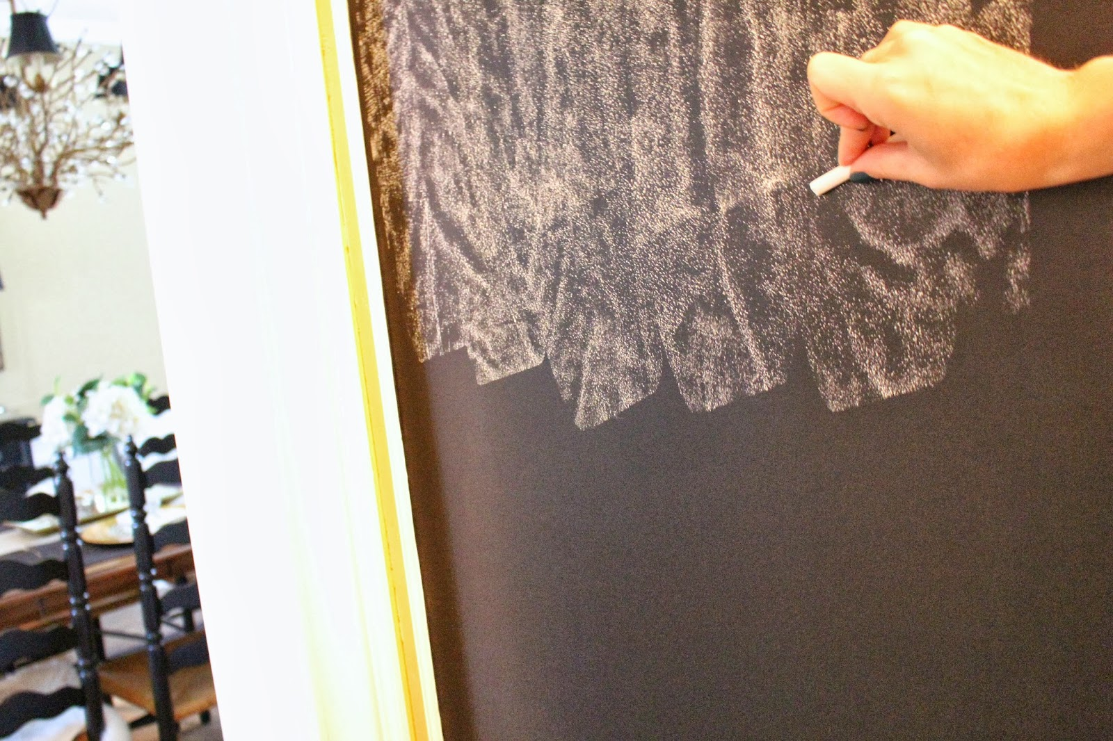 was difficult to prep chalkboard paint you basically rub the chalk