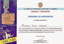 Participaciòn en la Audiencia Pùblica - Tumbes - Piura , Perù, Lucha Contra el Crimen Organizado