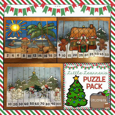 Math Puzzles for Little Learners: December Freebie Grab Bag