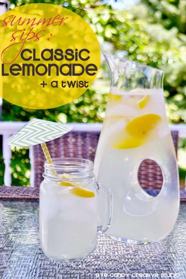 fresh lemonade, summertime lemonade, drink umbrella, pitcher of lemonade