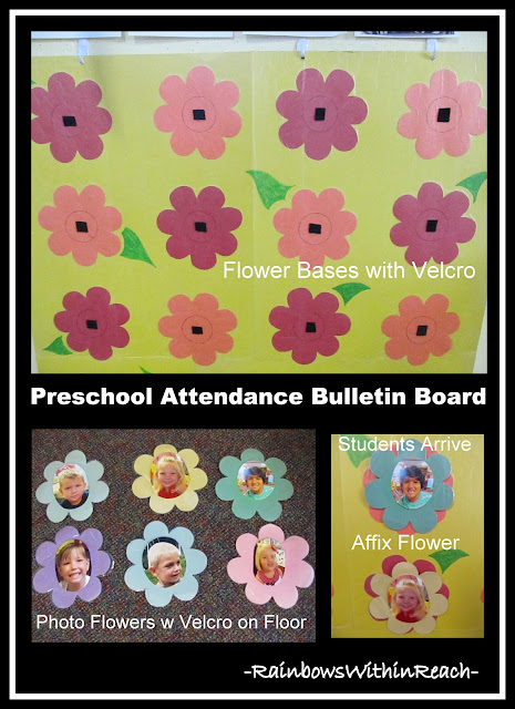 photo of: DIY Preschool Attendance Chart with Photo Flowers via RainbowsWithinReach