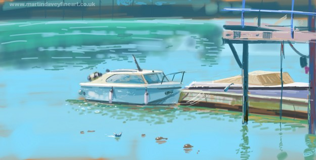 sketch done on microsoft surface pro of boat