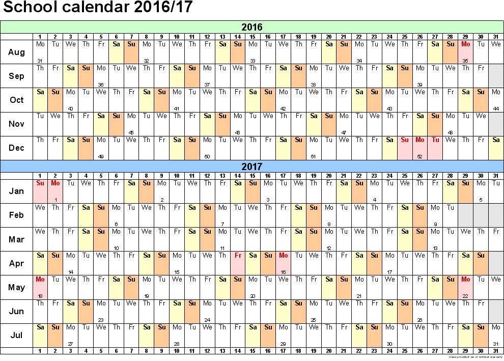 Academic Printable Calendar 2016, 2016 Calendar with School Holidays ...