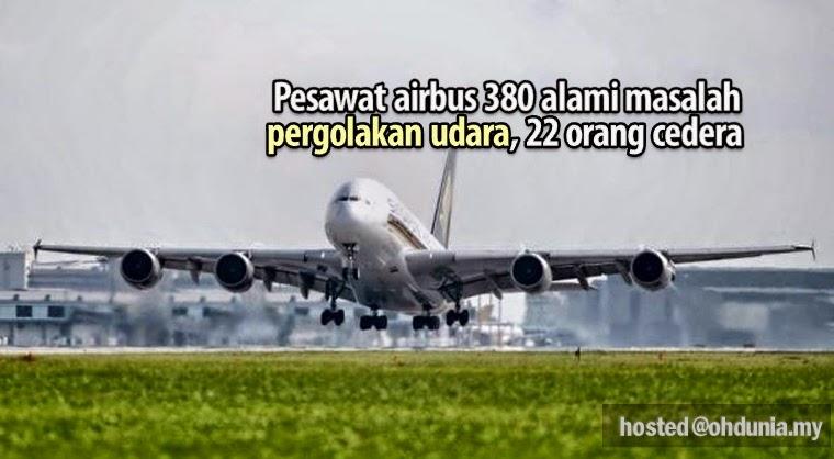 Pesawat Airbus380 Alami Masalah Pergolakan Udara, 22 Orang Cedera