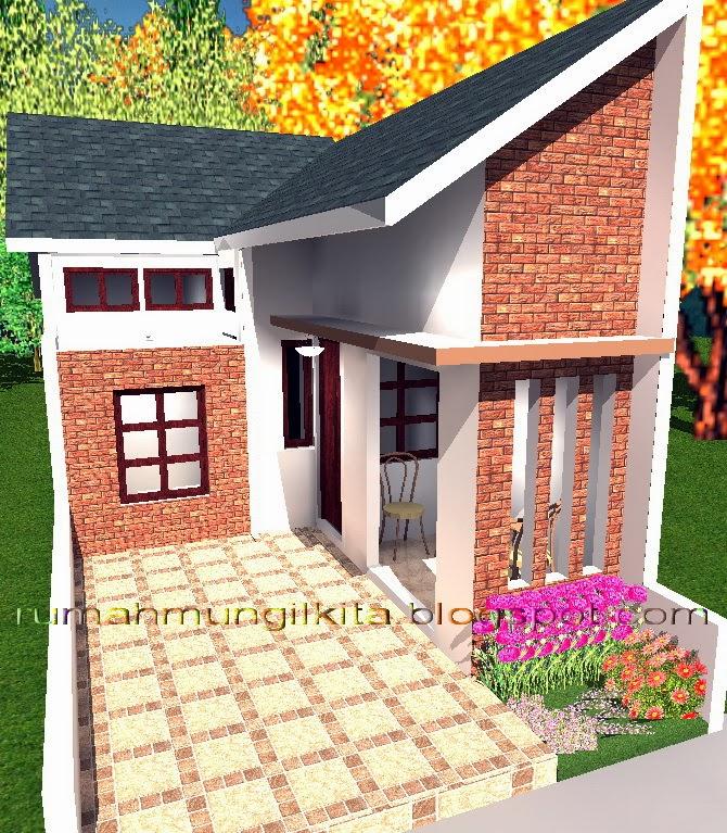 Desain rumah lebar 4 meter dengan 3 kamar tidur - tampak depan kanan