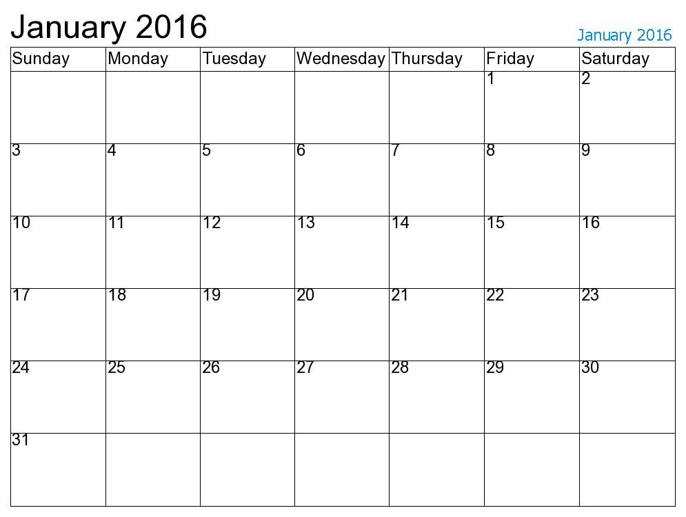 Calendar January : Free printable calendar january