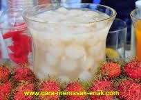 resep praktis (mudah) minuman segar manisan rambutan enak, lezat