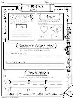 Worksheets Daily Morning Work 1st Grade 1st grade fantabulous randomness and a morning work packet