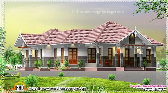 Sloping roof single storied home