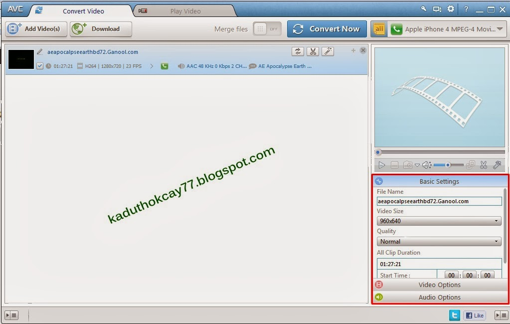 setting file video dan subtitle yang di convert