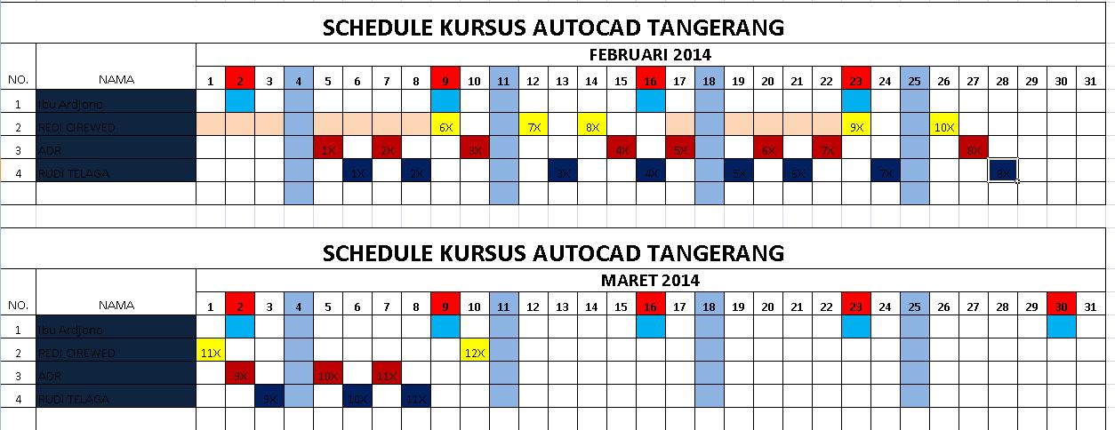 Jadwal kursus di autoCAD Tangerang.