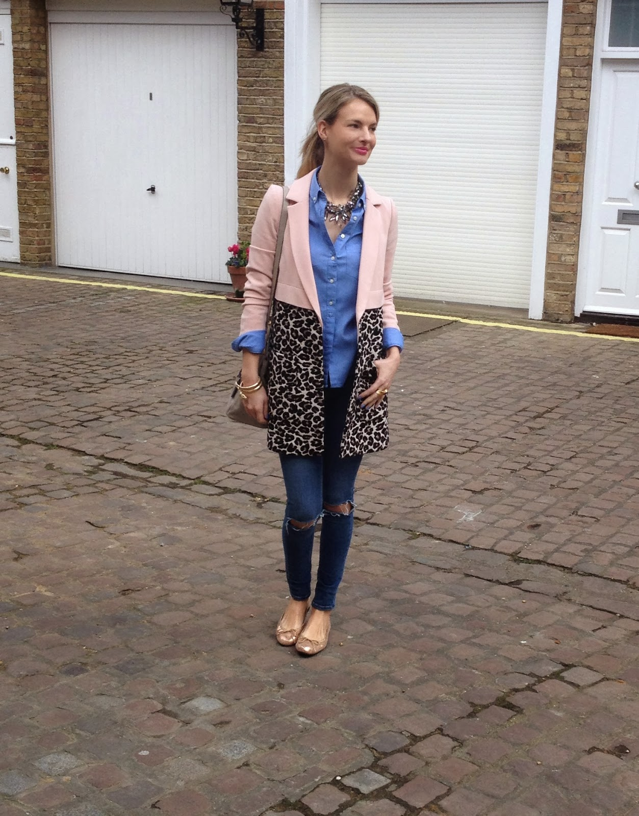 zara necklace, coat, spring coat, river island, river island coat, leopard print coat, pink leopard print coat, french sole, french sole flats, ballet slipper, london sole, french sole henrietta, jeans on jeans