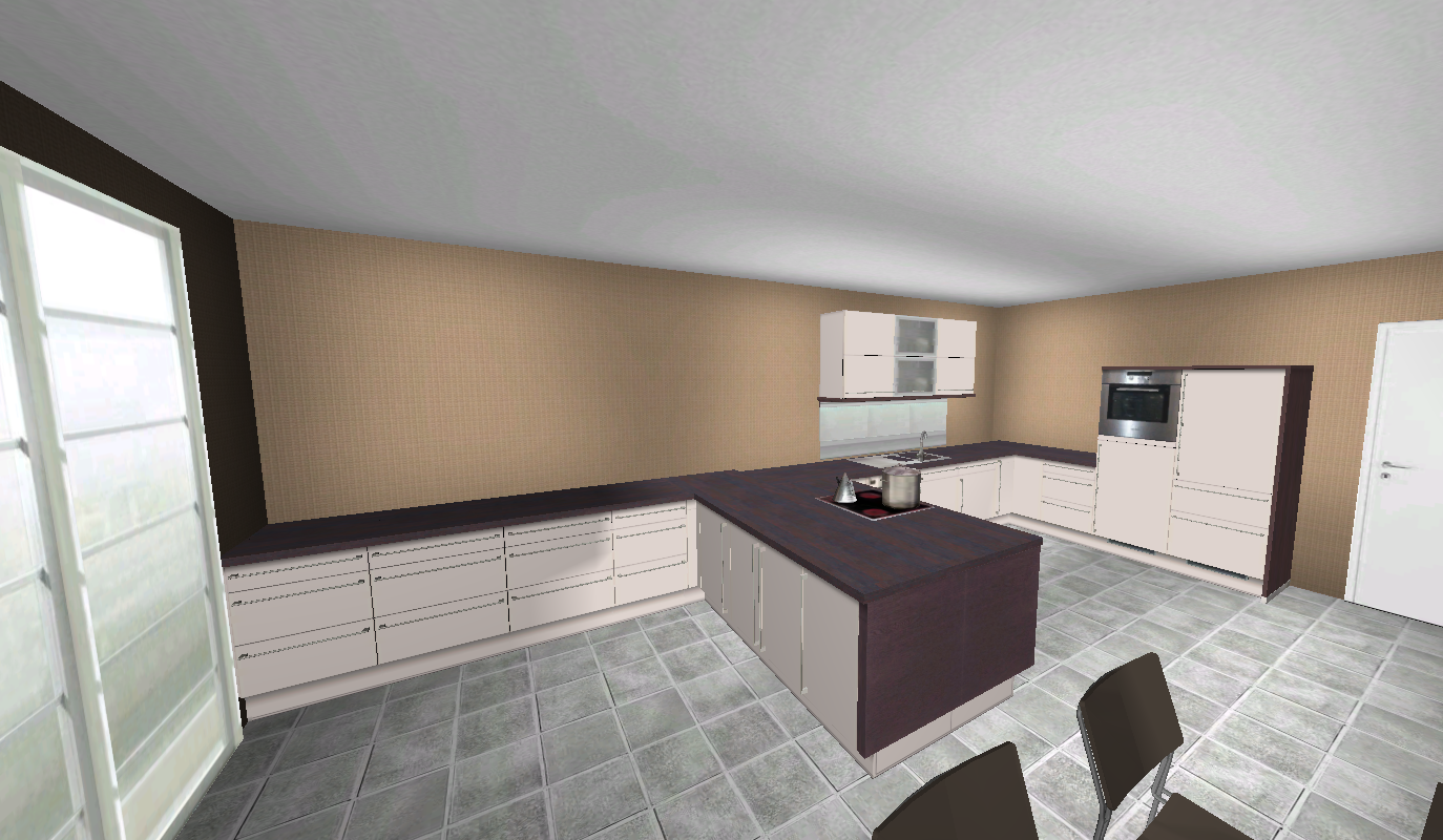 bau projekte die k che zieht ins alte wohnzimmer k chenplanung und umbau. Black Bedroom Furniture Sets. Home Design Ideas