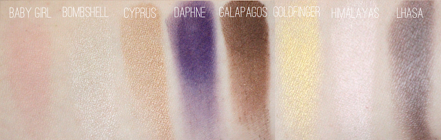 NARS Eyeshadow in Baby Girl, Bombshell, Cyprus, Daphne, Galapagos, Goldfinger, Himalayas, Lhasa Swatches