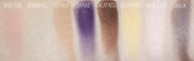 NARS Eyeshadow in Baby Girl, Bombshell, Cyprus, Daphne, Galapagos, Goldfinger, Himalayas, Lhasa Swatches