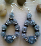 Smoked Silver/Black Cracked Glass Hoop Earrings