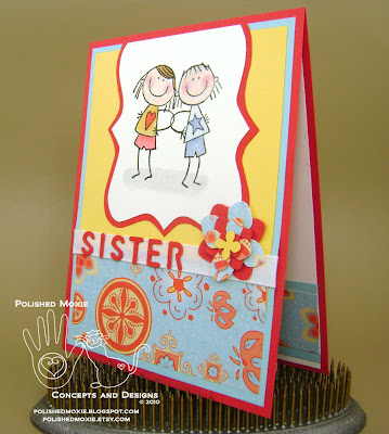 Picture of the front of my sister card sitting at a leftt angle to show dimensions of the elements