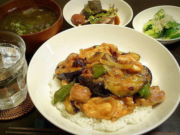 昨日の晩酌 鶏肉とナス、万願寺、麸のみそ炒め