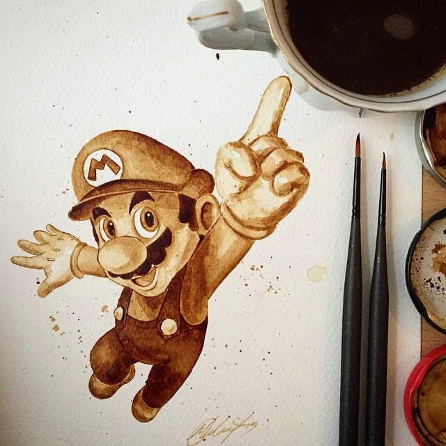 14-Super-Mario-Maria-A-Aristidou-Pop-Culture-Painted-with-Coffee-www-designstack-co