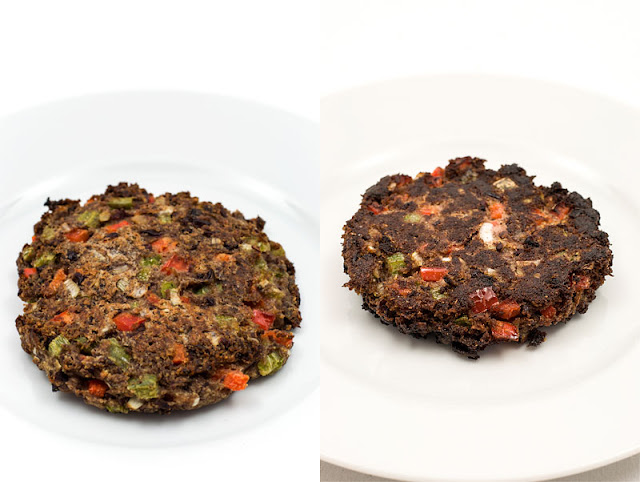 Vegan burger left baked in the oven, right fried comparison