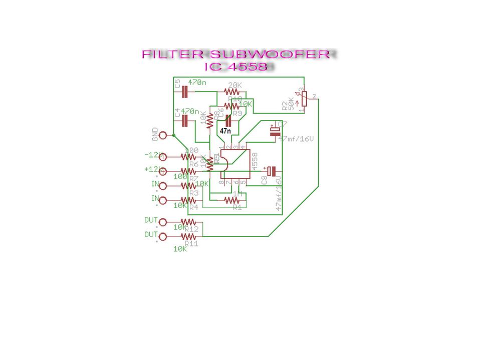 Sekematic suubwoofer filter ini memakai IC 4558 dan komponen semua dengan ukurannya sudah ada komplet dan sangat...