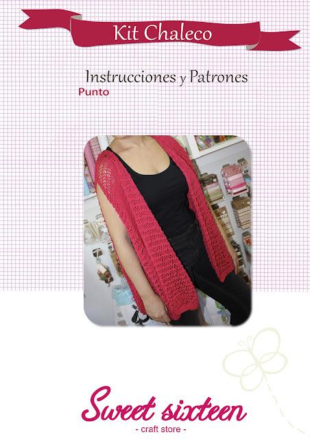 Patrón e Instrucciones Chaleco de punto, sweet sixteen craft store, Madrid.