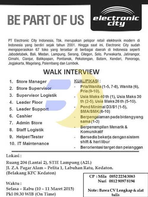 Lowongan Kerja PT. Electonic City Indonesia Tbk.