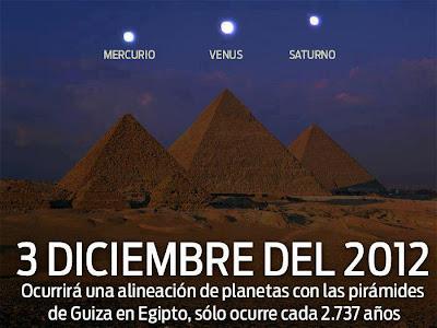 ALINEACION DE PLANETA CON LAS PIRAMIDES DE GIZA, 03 DE DICIEMBRE 2012